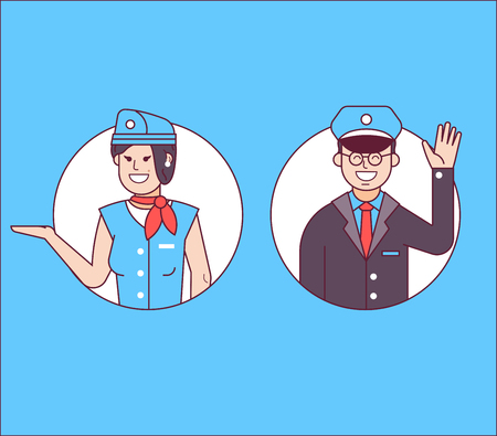 Aircraft or cabin crew with steward or pilot and stewardess icons. Friendly flight attendants and copilot. Smiling characters in working uniform welcoming the passenger on board. Stockfoto