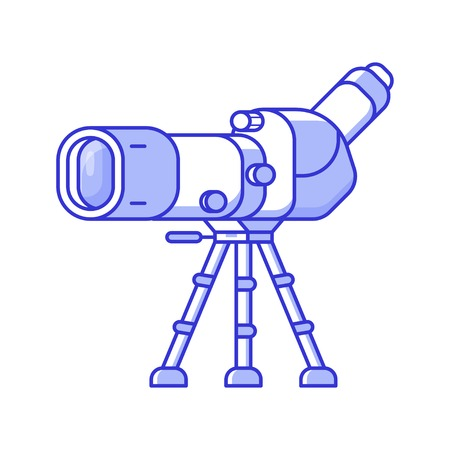 Birdwatching monocular in line art. Travel spotting scope on tripod icon. Birding telescope for watching birds and wildlife in flat design. 写真素材