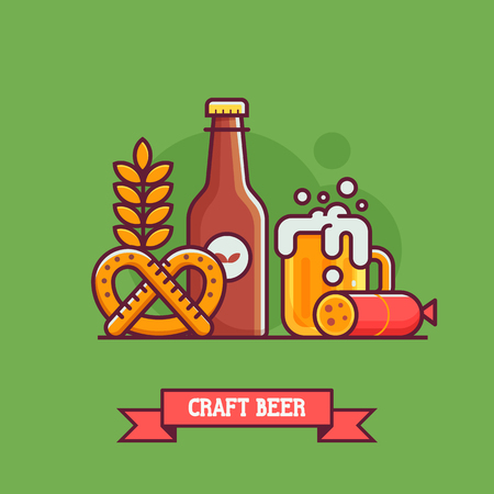 Craft beer concept with traditional brewing symbols and elements. Full glass of beer with foam, bottle of ale, pretzel, cheese or sausage and wheat. Brewery card template.