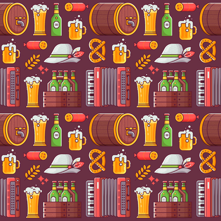 Beer fest pattern with craft beer, bavarian hat, mug, accordion and other beer festival and oktoberfest symbols. Brewing seamless background in line art. Illusztráció
