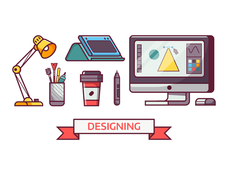 Graphic design icon set with digital illustrator or artist tools and equipment in line art. Digital drawing icons and elements.
