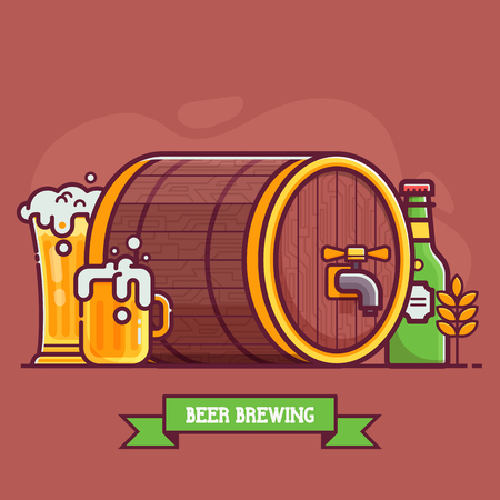 Oktoberfest festival beer brewing concept. Bottle and full glass of craft beer with foam, wooden keg or barrel and wheat. Beer pub or traditional brewery illustration.