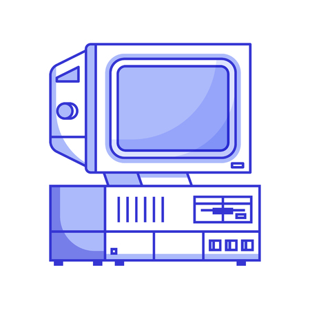 Retro computer from 90s. Classic vintage PC icon isolated on white. Obsolete data processing machine for home and office. Old school mainframe with floppy in line. Illustration