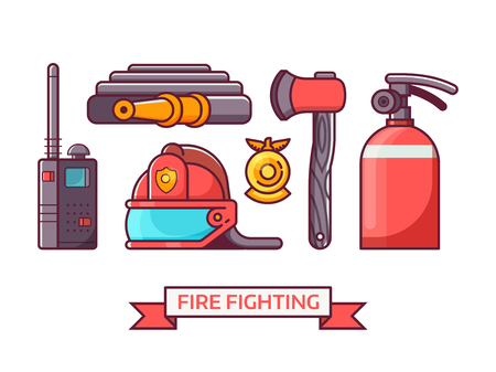 Fire fighter icon set with fire department equipment and elements. Such as helmet, extinguisher, hydrant and fireman badge in outline flat design. Firefighting icons. Illustration
