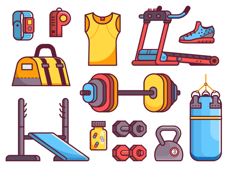 Gym and fitness icon set with body building, strength training and running elements. Sport equipment icons in flat design including treadmill, punching bag, kettlebells and other accessories. Illustration