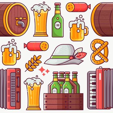 Beer fest pattern with craft beer, bavarian hat, mug, accordion and other beer festival and brewing symbols. Oktoberfest seamless background in line art.
