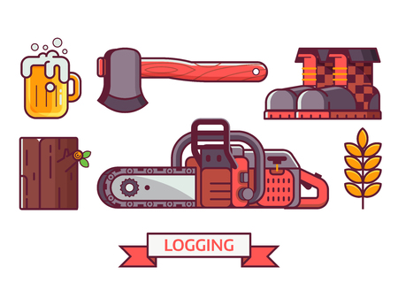Forestry and tree surgeon icon set with lumberjack lifestyle equipment and items. Chainsaw, woodcutter boots, log and hatchet. Sawmill or logging icons and elements in flat design.