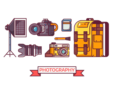 Digital photography icon set with professional photographer equipment. Such as camera, lens, softbox, cleaning kit and photo bag. Photo studio icons and elements.