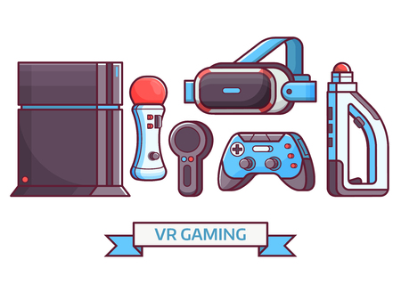 Augmented reality and virtual gaming icon set with VR devices and gadgets. Cyberspace and virtual reality concept banner with gamer elements and equipment. Such as headset, controllers and console. Illustration