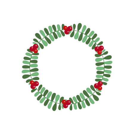 New Year and Christmas wreath flat design icon isolated on white background. Natural holiday wreath with red holly berries and leaves.