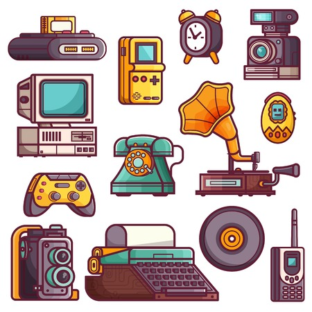 Retro tech devices icons. Multimedia electronic gadgets collection. Vintage technology icon set with old rarity elements for entertainment from nineties and sixties.