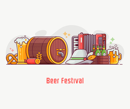 Oktoberfest banner with traditional beer festival symbols. Such as barrel, bavarian hat, harmonica and mugs. Beer fest concept with celebrating Octoberfest elements and icons in flat design. Illustration