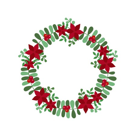 New Year and Christmas wreath flat design icon isolated on white background. Natural holiday wreath with red holly berries, flowers and leaves.