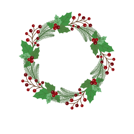New Year and Christmas wreath flat design icon isolated on white background. Natural holiday wreath with red holly berries, leaves and pine. Illustration