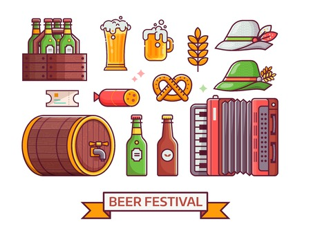 Beer fest icon set with craft beer, bavarian hat, mug, accordion and other oktoberfest symbols. German beer festival icons and design elements in line art. Illustration