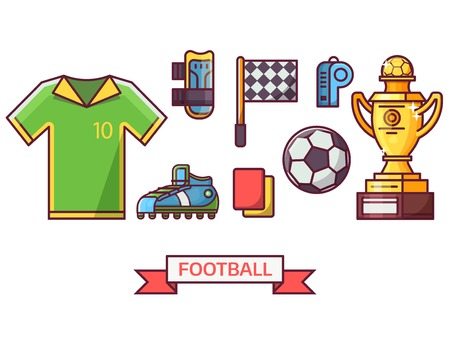 Soccer icon set with training equipment and playing elements. Football championship icons. Such as winner trophy cup, soccer ball, flag and other game essentials in line art.