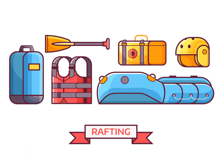 Rafting icon set with water hike equipment and gear. River hiking or boating elements. Such as inflatable boat, paddle, life jacket and helmet. Summer adventure equipment icons. Illustration