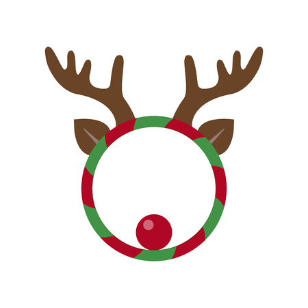 New Year and Christmas wreath flat design icon isolated on white background. Holiday funny Xmas wreath with deer horns, ears and red nose.