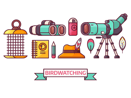 Birding icon set with birdwatcher equipment and elements. Travel scope, binoculars, birder hat and feathers. Ornithology and birdwatching icons in line art. Stock Photo