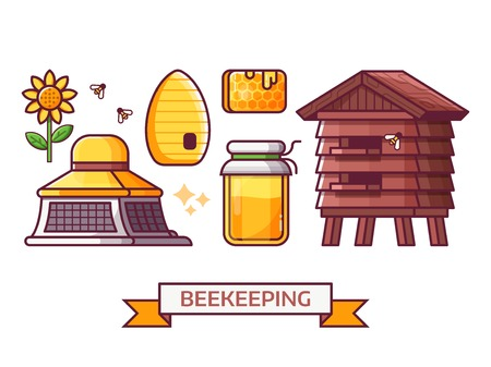 Apiary and beekeeping icon set with apiarist equipment and essentials. Such as beekeeper hat, honey jar, hive and bee house. Beer-garden and honey harvest icons and elements. Stock Photo