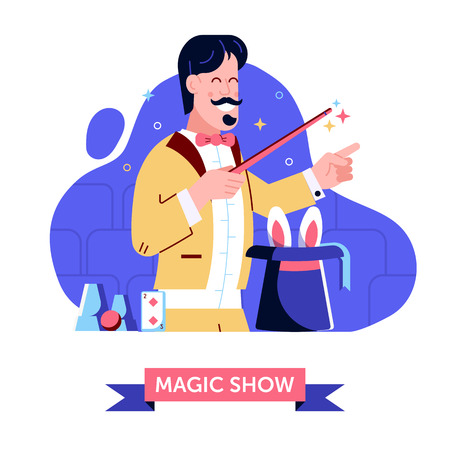 Magician in stage suit shows focus with magic hat and rabbit. Smiling circus illusionist holding wand demonstrating magical performance trick with bunny and cylinder on theater. Magic show concept.