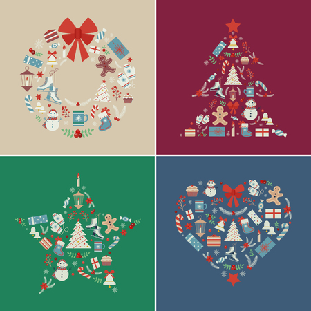 New Year and Christmas t-shirt prints with holiday icons and elements stylized in shapes of wreath, star, Xmas tree and heart. Winter poster or party invitation templates with christmas symbols.