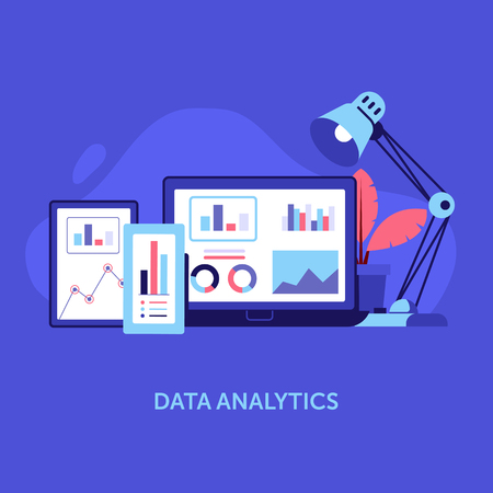 Business and marketing data analysis for website and mobile app. Data analytics and search information concept with smartphone, laptop and tablet. Workspace with gadgets and graphics.