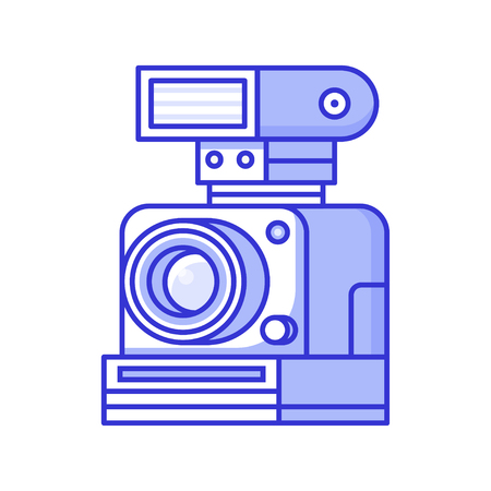 Vintage retro camera with flash. Old-fashioned collectible photographic equipment element. Antique and classic photographer device icon or photo logotype. Stockfoto - 109814348