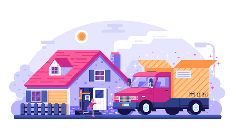 People receiving delivery in front of their house. Delivery truck with opened cardboard box. Standing in cottage doorway father and son getting package from car. Cargo transportation service concept. Illustration