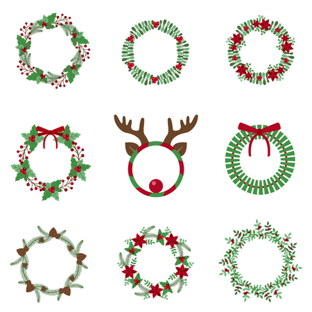Christmas decoration wreath set with winter flower elements and fir cones. Christmas and New Year holiday celebration round plant garlands with mistletoe, holly berries, fir branches and ribbon bows.