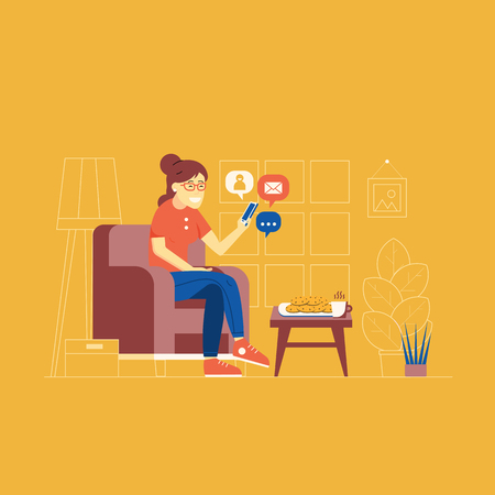 Young woman sitting in comfortable armchair at home furnishing and networking with smartphone. Smiling girl character surfing social network from phone, chatting, sending and receiving messages.