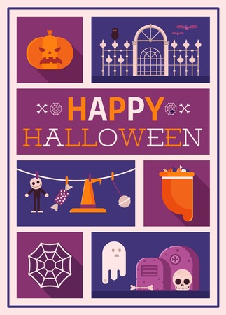 Happy halloween card with ghosts, tombs, bats and pumpkin. Festive halloween postcard with classic symbols, icons and gothic elements. Party invitation template. Stock Vector - 109790517