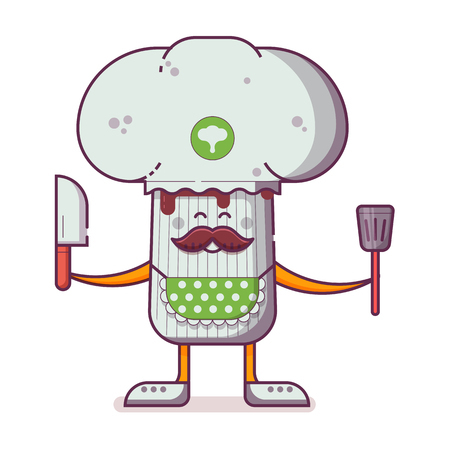 Smiling chief cooker champignon character in chef hat with mustache juggling ingredients. Happy champignon mushroom mascot icon in flat design.