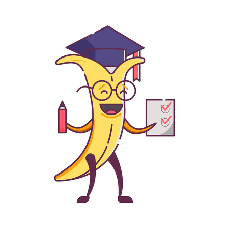 Funny cartoon banana graduate character holding paper with perfect exam. Humanized vegetable icon. Smiling student fruit in graduation hat with glasses and checklist. Healthy vegan food character. Illustration