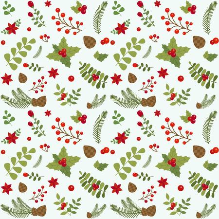 Motivo natalizio con bacche di agrifoglio, rami di abete, pigne, foglie verdi e bacche su sfondo scuro. Ornamento floreale vintage per tessuto e carta da regalo. Sfondo senza giunte di Natale.