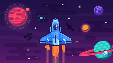 Space shuttle flying in galaxy with planets and stars. Discovering new horizon spacecraft concept illustration. Cosmos exploration poster or banner with rocket ship. Spaceship soars on solar system.