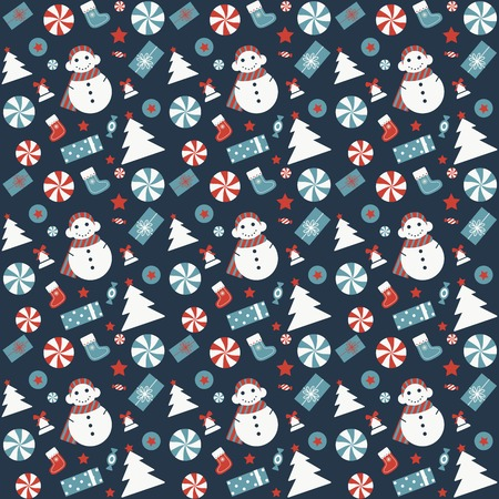 Christmas seamless pattern with snowman, Xmas tree, candies, gift stocking and jingle bells. Vintage Christmas ornament with winter holiday decorative elements for fabric and gift wrapping paper. Illustration