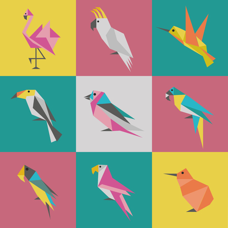 Abstract geometric bird logotypes set. Exotic colorful flying birds in Japanese origami style. Triangle mascots of hummingbird, flamingo, kiwi, toucan and parrots for emblems and logo design.