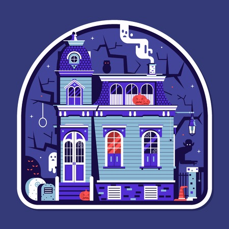 Halloween spooky house sticker with haunted victorian mansion full of ghosts and scary creatures. Illustration