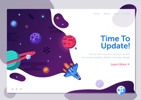 Product update illustration with space shuttle. Business start up or project launching web banner with rocket ship. Explore new horizons or version upgrade concept with spaceship flying in galaxy.