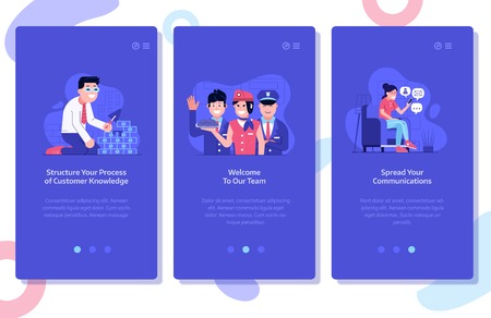 Online marketing and advertising onboarding mobile app page screens. Customer knowledge data, team hiring and spread social media communications concept UI illustrations with people using technology. Stock Photo