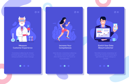 Online marketing and advertising onboarding mobile app page screens. Customer experience research, increasing competences and building customer database UI concepts with people using technology. Zdjęcie Seryjne