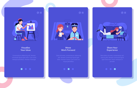 Online marketing and advertising onboarding mobile app page screens. Creative ideas visualization, moving forward and sharing customer experience UI concepts with happy woman using technology gadgets.