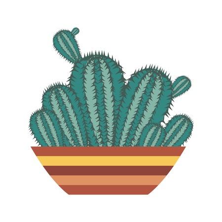 Cartoon cactus in pot. Houseplant succulent icon in flat design.