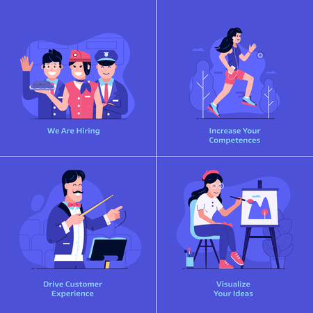Online marketing and advertising banners. Drive customer experience, team recruitment, increasing competences and creative ideas visualisation UI concepts with happy man and woman using technology.