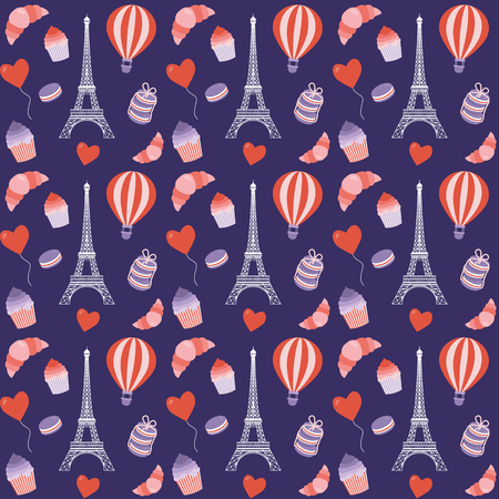 Paris pattern with Eiffel Tower, hot air balloon, french croissant, macaroon and cupcake. Romantic french seamless background for wrapping paper and print on textiles or fabric.