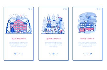 Ski resort onboarding mobile app page screens with hotel accommodation, winter sports equipment rental and ski lift in line art design. Winter holidays in mountains vertical banners for applications. Illustration