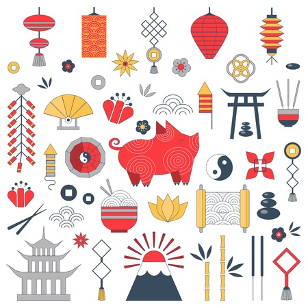 Chinese New Year set with pig zodiac 2019 symbol, asian lanterns, coins, fireworks, firecrackers, yin yang sign, flowers and traditional ornaments. Collection of elements for China Spring Festival.