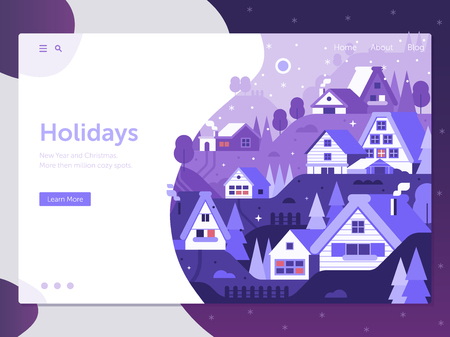 Winter holidays landing page with abstract snowy with winter village rural landscape. Wintertime horizontal web banner in flat design with alp countryside ,cozy snow houses and cabins by night. Illustration