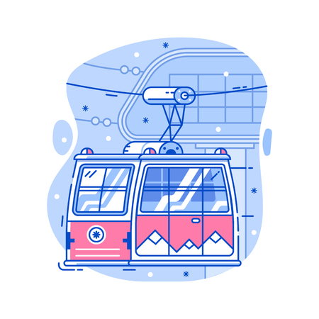 Red cable car in flat design. Electric ski lift or gondola icon in line art. Winter funicular illustration. Mountain ski resort cableway concept. Illustration